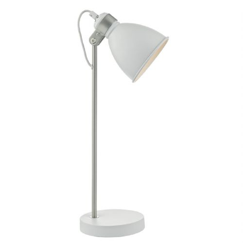Frederick Table Lamp White/ Satin Chrome